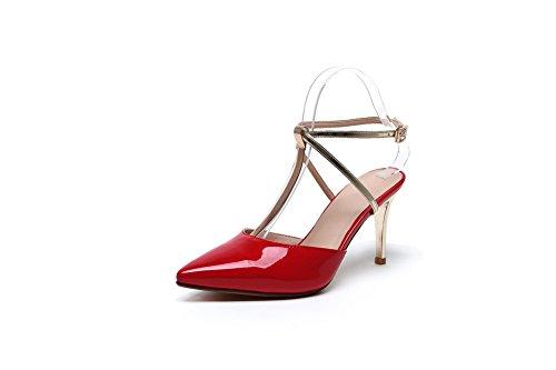 Allhqfashion Femmes Pointes Talons Aiguilles Matériaux Mélangés Couleurs Assorties Bout Fermé Sandales Rouges