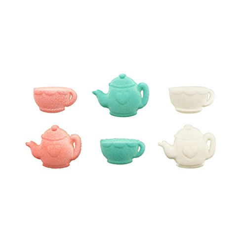 Tea Party Assortment Cup and Tea Pot Sugar Cup Cake Cupcake Decorations 12 count by Lucks