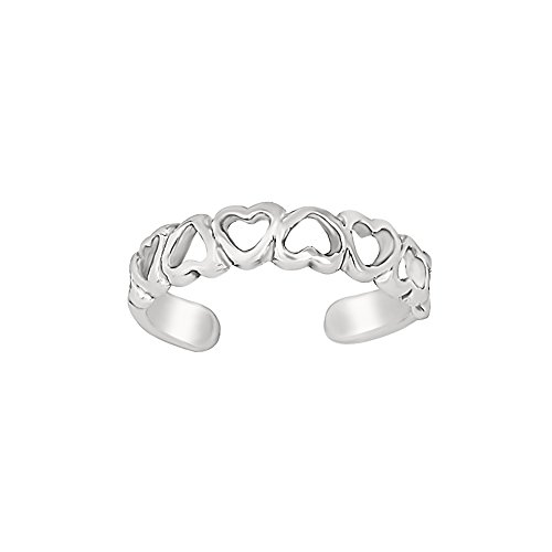 Sterling Silver Cut out Band of Hearts Toe Ring - Heart Solid Toe Ring