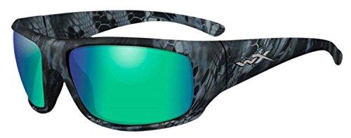 Wiley-X ACOME12 Omega Sunglasses Polarized Emerald Mirror Lens, Black