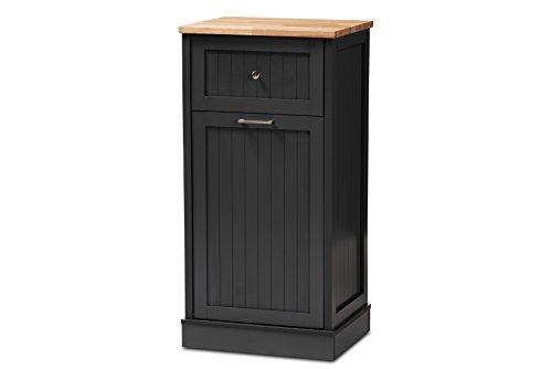 Baxton Studio 147-424-8319-AMZ Monica Kitchen Cabinet, Dark Grey/Oak Brown