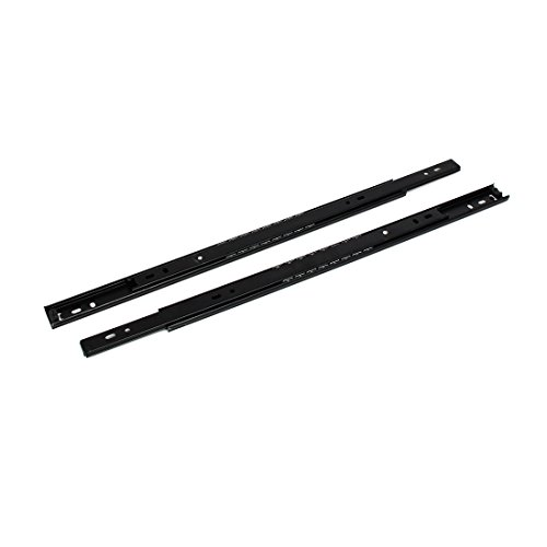 uxcell 16 Inch Length 27mm Width 2-Section Ball Bearing Drawer Slides Rail Black 2pcs Telescopic Rail