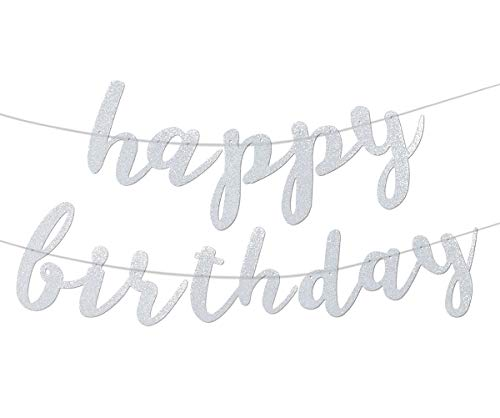 Silver Glittery Happy Birthday Banner for Birthday Party Baby Shower Anniversary Celebrations Decorations]()