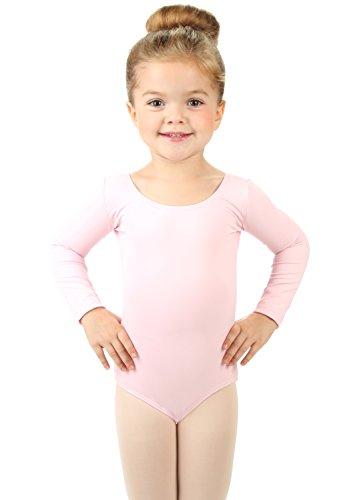 Elowel Girls' Team Basics Long Sleeve Leotard Pink (size-4-6)