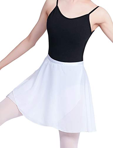 (Daydance Girls Sheer Ballet Skirt Wrap Chiffon Over Scarf for Dancing White)