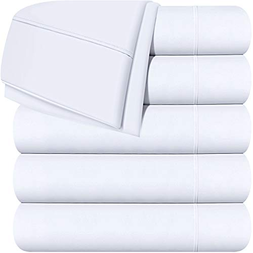 Utopia Bedding Flat Sheets - Pack of 6 - Soft Brushed Microfiber Fabric - Shrinkage & Fade Resistant Top Sheets - Easy Care (Queen, White)
