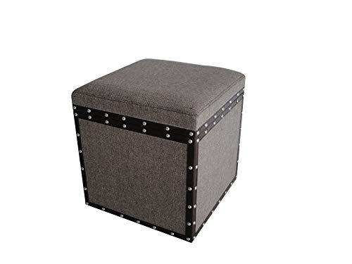HomeRoots Furniture MANDALAY SQUARE TWEED STORAGE STOOL ()