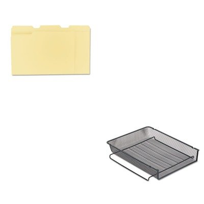 Rolodex Mesh Stackable - KITROL22211ELDUNV12113 - Value Kit - Rolodex Mesh Stackable Front Load Letter Tray (ROL22211ELD) and Universal File Folders (UNV12113)