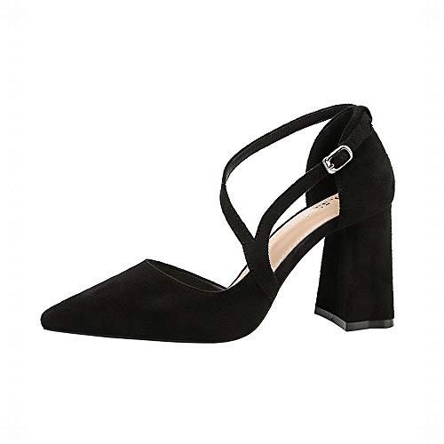 Lady Sandales Sexy Yy4 Kervinfendriyun Wild Thick Noir Thin Fashion Talons Pointus Avec Chaussures xY1EwBHwq