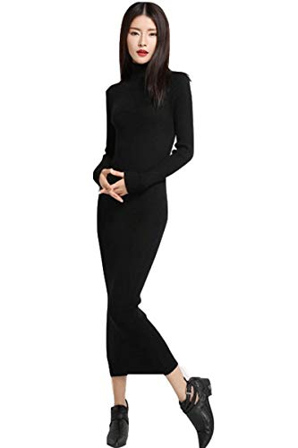 Dresses Women's Maxi Dress Turtleneck Cashmere ankle length dress Long Sleeve Slim Fit Stretchable Elasticity (One Size, 1325 Black)