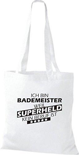 Shirtstown Bolso de tela Estoy Salvavidas, weil Superheld sin Trabajo ist Blanco