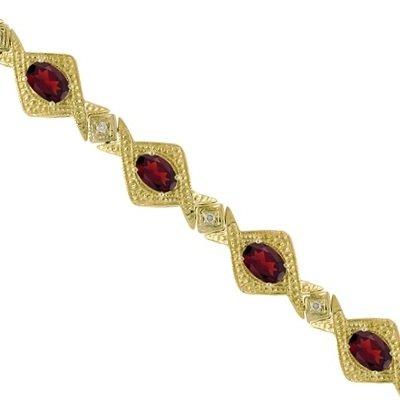 Antique Style Garnet and Diamond Link Bracelet 14k Yellow Gold (5.63ctw)