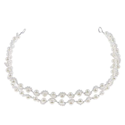 Millet Beads Around The Pearl Double HairBand Hair Jewelry For Wedding Party