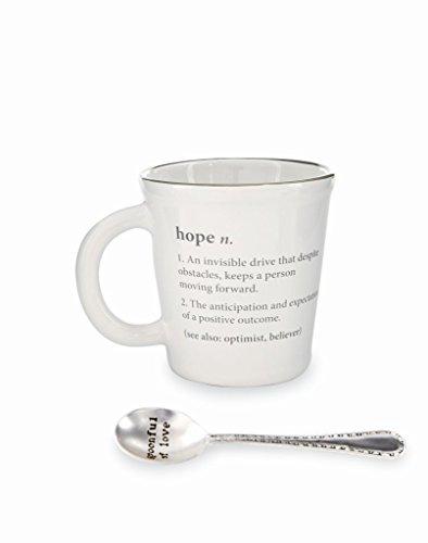(Mud Pie 16 oz Cancer Pazitive Definition Mug & Spoon Set (Hope))