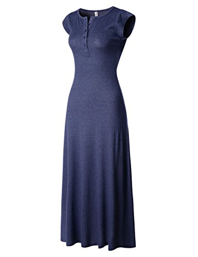 NEARKIN (NKNKWBLD674 Womens Figure Hugging Henley Neck Daily Casual Maxi Dress Navy X-Large(Tag Size 2XL)