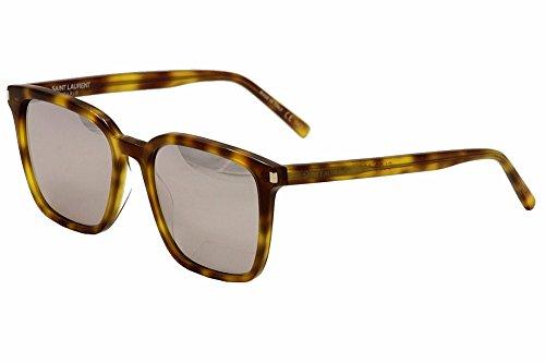 Saint Laurent Women's SL93 Sunglasses, Olive Havana/White Silver, One - Mens Laurent Yves Sunglasses Saint