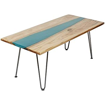 """42"""" Cocktail Coffee Table/End Table/Side Table/Sofa Table/TV Table/Vanity Table from Oak Wood with Live Edge Epoxy River, Handmade Unique"""