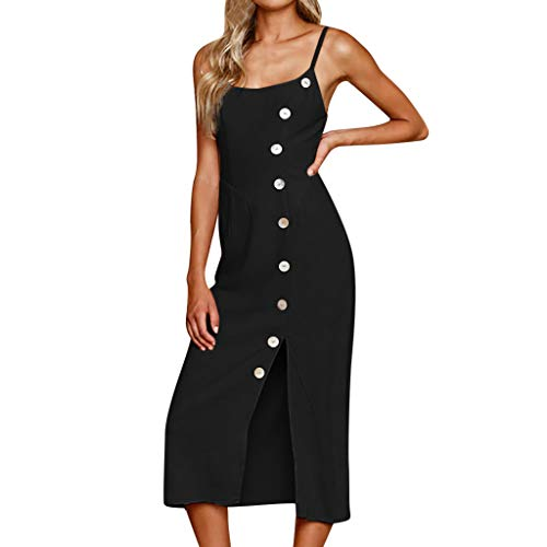 Sling Dresses for Women,✔ Hypothesis_X ☎ Women Button Off Shoulder Spaghetti Strap Boho Long Maxi Dresses Black -
