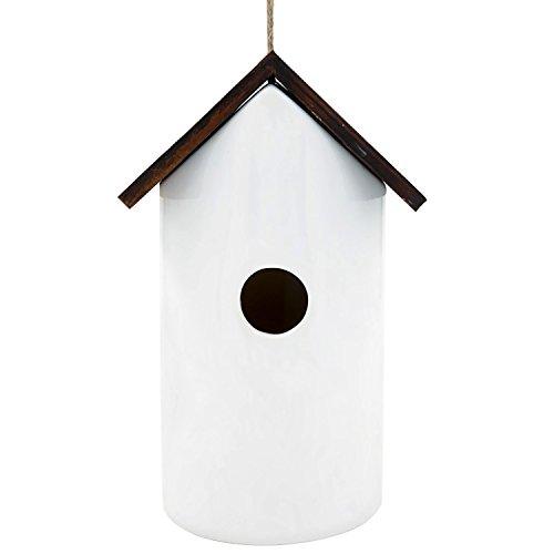 Ceramic Birdhouses - CEDAR HOME Hanging Bird House Outdoor Garden Patio Decorative Resin Pet Cottage White Ceramic Restful Birdhouse