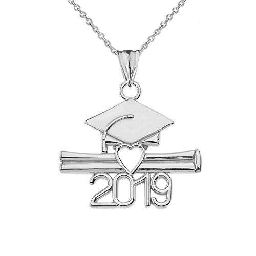 Exquisite Sterling Silver Class of 2019 Open Heart Diploma and Cap Pendant Necklace, 16