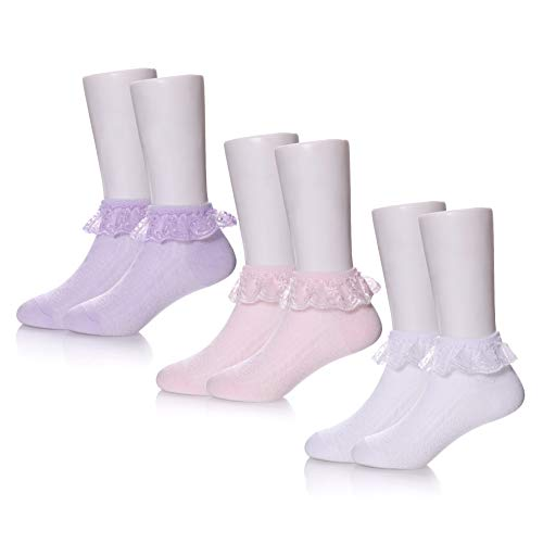 TRUEHAN 3/6 Pack Baby Girls Infant Toddlers Kids Princess Lace Ruffle Frilly Mesh Socks Ankle Cotton Socks for 0-8T (XL / 6-8 Year Old, 3 Pack A - Socks Ankle White Pink Lace