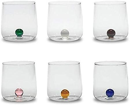 Zafferano Bilia Tumbler Set 6 bicchieri acqua trasparenti con pallina 6 colori vari