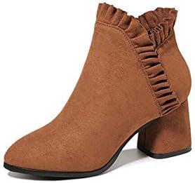 YIWU Europa Und Amerika Mittlere Ferse Starke Ferse Peeling Martin Stiefel 2019 Neue Art Weibliche Stiefel Plus Samt Weibliche Schuhe High Heel Booties Braun (Size : EU37/UK4.5-5)