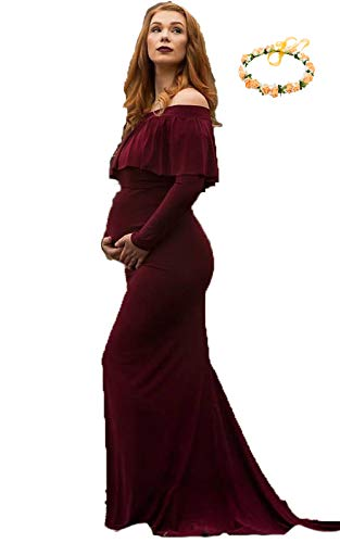sicily Maternity Grace Off The Shoulder Maxi Dress for Photo Shoot-Long Sleeve Baby Shower Gown by sicily