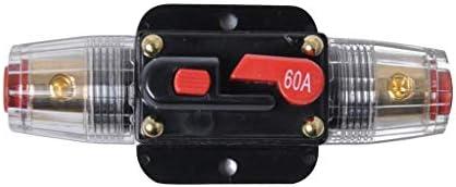 Homyl 60AインラインDCサーキットブレーカーマニュアルリセットステレオ/オーディオ/車/RVヒューズホルダー