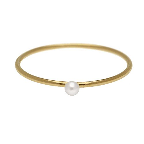 Beadaholique Stacking Ring with White Freshwater Pearl, 1mm Round Wire/US Size 5, 1 Piece, 14K Gold Filled
