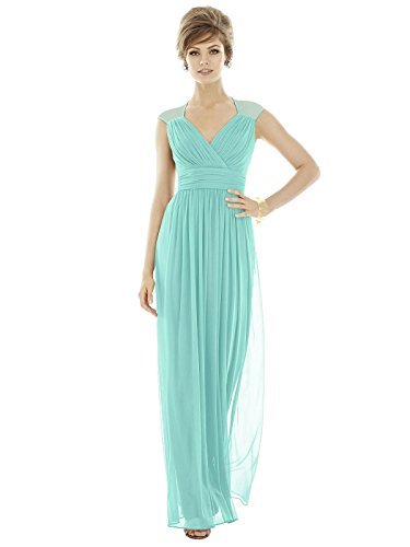 UPC 888293764041, Dessy Women's Full Length V-Neck Cap Sleeve Chiffon Knit Dress - COASTAL - Size 12