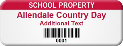 Customize School, Embedded PermaGuard™ Label with Gloss Surface, 100 Labels / Pack, 2'' x 0.75''
