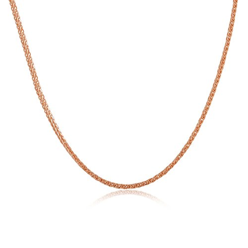 MaBelle 18K Italian Rose Gold Round Wheat Chain Necklace With Spring Ring Clasp (18