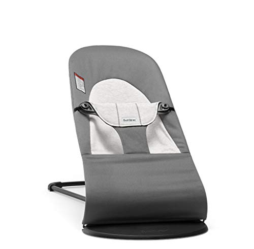BabyBjörn Bouncer Balance Soft: Ergonomic Baby Bouncer Chair, Infant Bouncer + Portable Bouncer Seat - Dark Gray/Gray, Jersey Cotton