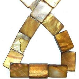 (MP915 Golden Brown 20mm Flat Rectangle Mother of Pearl Gemstone Shell Bead 15
