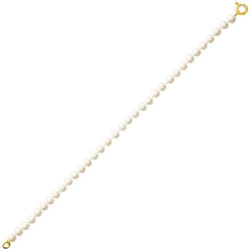 So Chic Bijoux © Bracelet Femme Longueur 18 cm Perles Eau Douce 4 mm Crème Ivoire Or Jaune 750/000 (18 carats)