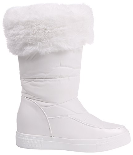 Faux Mid Fur Resistant Lined Women's Calf Enimay Boot White On Water Winter Slip Yqxw5AxX
