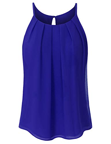 - JSCEND Women's Round Neck Pleated Double Layered Chiffon Cami Tank Top A-RoyalBlue 1XL