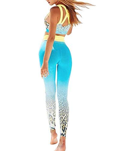 Womens High Waist Fitness Yoga Clothes Set, Crop Top Leggings 2 Pieces Workout Suit Althletic Outfits Set (Medium, Blue)
