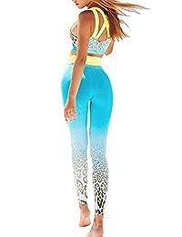 Jamlynbo Womens High Waist Fitness Yoga Clothes Set, Crop Top Leggings 2 Pieces Workout Suit Althletic Outfits Set