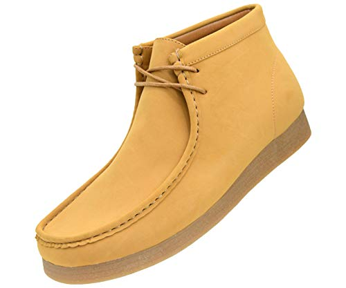 (Amali Men's Faux Seude High Top Casual Boots with Crepe Rubber Like Sole, Style Jason, Runs Small Size 1 UP)