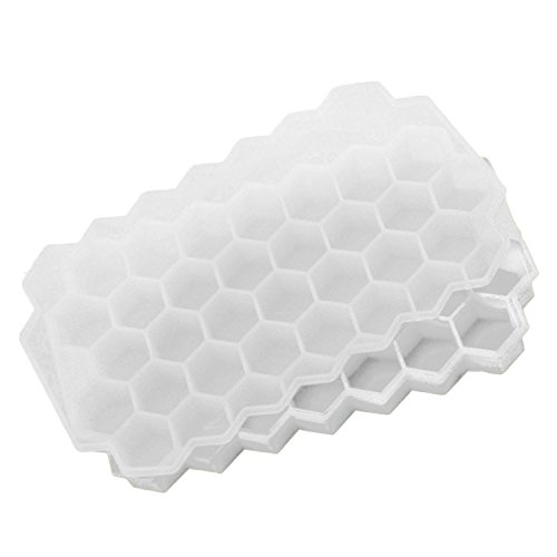 Gosear 37 Slots Silicone Honeycomb Shape Ice Cube Maker Mold Tray Ice Box with Lid for Whisky Cocktails Iced Coffee Cold Drinks White -