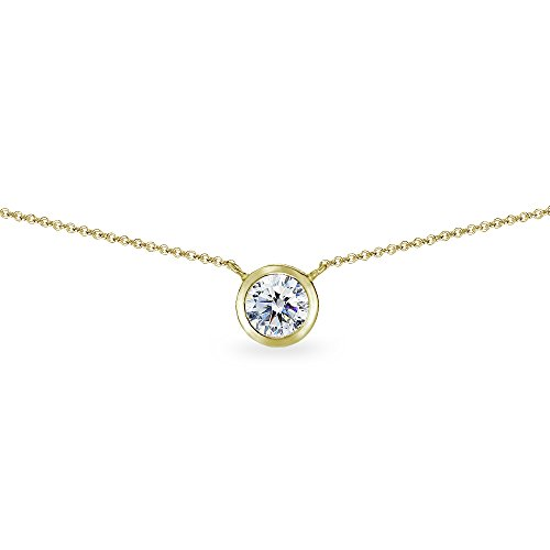 Bezel Stud Necklace (Yellow Gold Flashed Sterling Silver 6mm Round Bezel-Set Dainty Choker Necklace Made with Swarovski Zirconia)