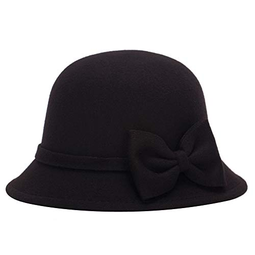 - ChenXi Store Women Faux Wool Church Cloche Flapper Hat Lady Bucket Winter Flower Cap