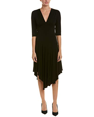 (Nicole Miller Women's Stretchy Matte Jersey Asymmetrical Dress Black 0)