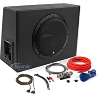 Rockford Fosgate P300-10 + Amplifier Wiring Kit 300W Single 10 Amplified Subwoofer Enclosure + 8 Gauge Full Spec CCA Amplifier Wiring Kit for Systems up to 275 Watts