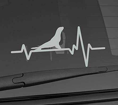 (Heart Beat Line Heartbeat ANIMAL SEA LION Proud Elephant Seal Love Car Vinyl Sticker Wall Decal 3.75