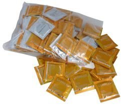 100 Premium Condoms Vitalis Vanilla - Golden Condoms with Vanilla flavor by Vitalis