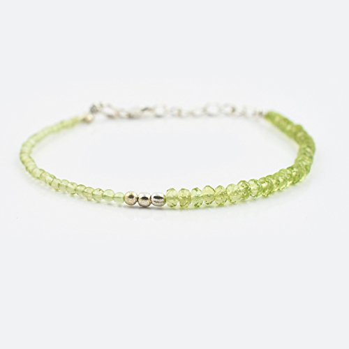 Peridot Rondelle Round Beads Bracelet with Sterling Silver finding 6.50