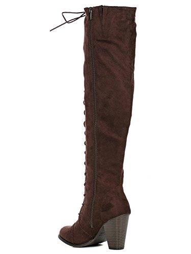 Womens Chunky Heel Overknee Hohe Reitstiefel Schnüren sich Korsett Oberschenkel Hohe Kampfstiefel Winter Schuhe Von ShoBeautiful Braun